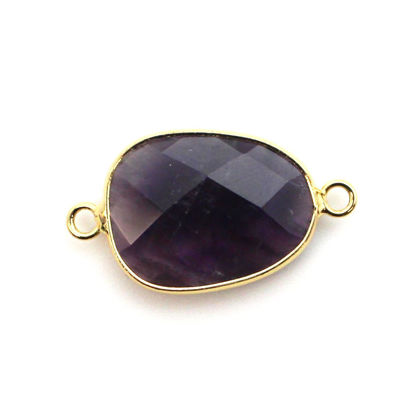 Gold Plated Sterling Silver Faceted Natural Amethyst Stone Bezel Connector