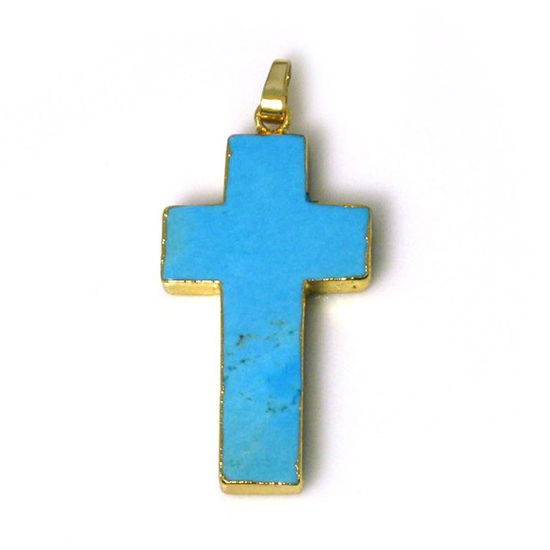 Wholesale Gold Plated Blue Howlite Turquoise Cross Pendant