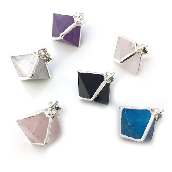 Wholesale Gemstone Pendant, Octahedron Gemstone, 8 sides gemstone Sterling Silver Pendant,Small Gemstone Rock Pendant- 25mm