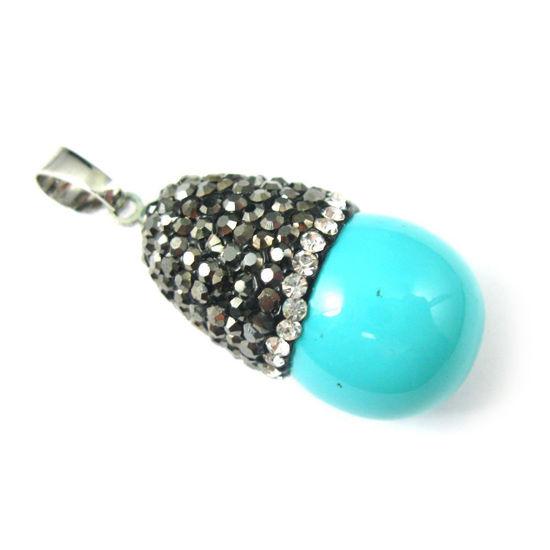 Wholesale Pave Pendant Turquoise Teardrop Pendant,Wholesale Pendants for Jewelry Making