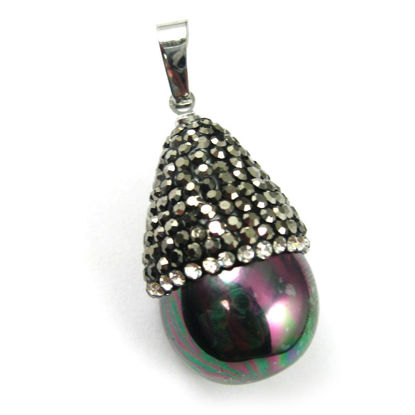 Wholesale Pave Pendant Black Shell Teardrop Wholesale Pendants for Jewelry Making