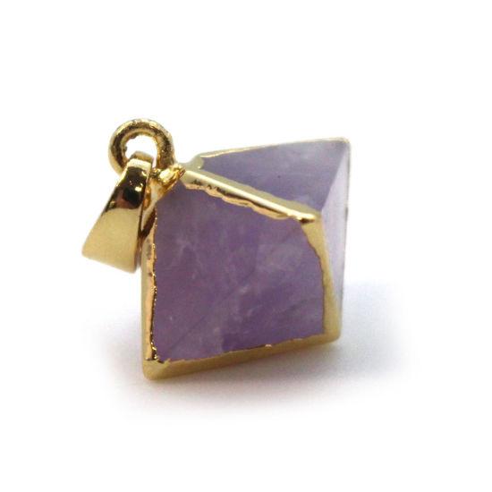 Gold Plated Amethyst Octahedron Gemstone Pendant - 8 Sided Gemstone Pendant - 25mm