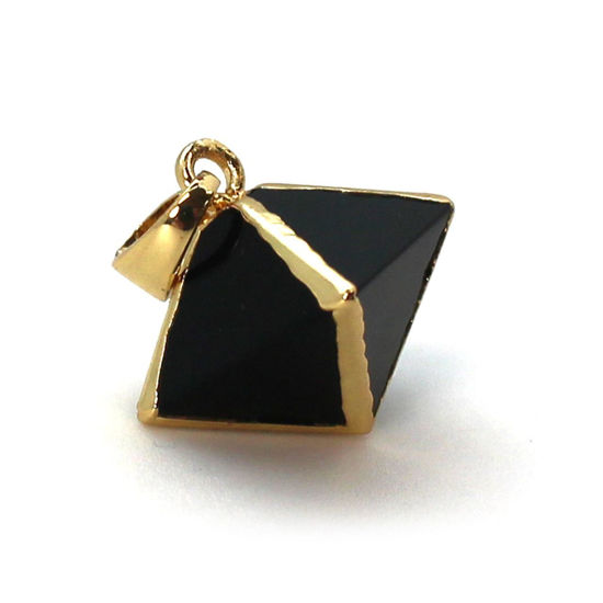 Gold Plated Black Agate Octahedron Gemstone Pendant - 8 Sided Gemstone Pendant - 25mm