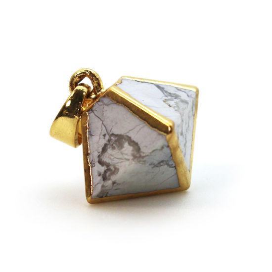 Gold Plated White Howlite Octahedron Gemstone Pendant - 8 Sided Gemstone Pendant - 25mm