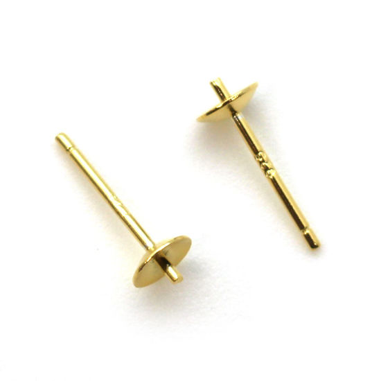 Wholesale Gold Over Sterling Silver Earring Studs for Half Drilled Pearls and Beads - 5mm (5 pairs - 10 pcs)