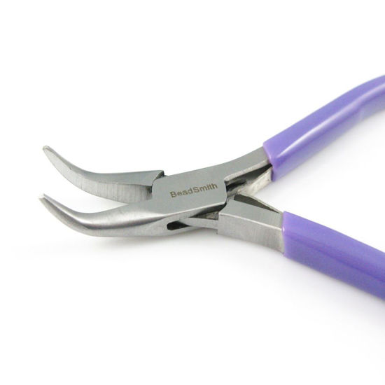 Beadsmith Super-fine Bent Chain Nose Pliers with Spring