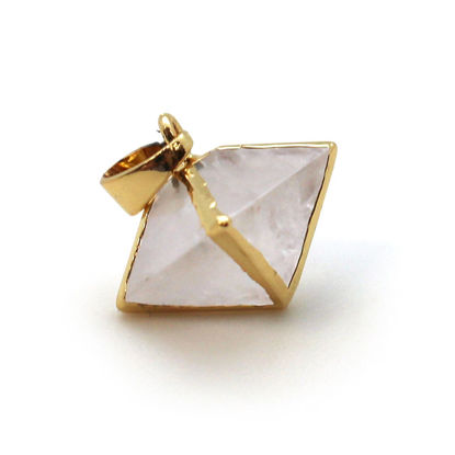 Gold Plated Frosted Crystal Quartz Octahedron Gemstone Pendant - 8 Sided Gemstone Pendant - 25mm