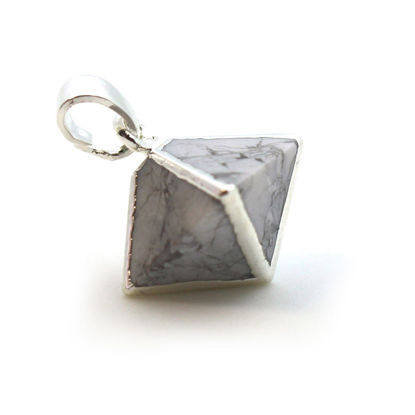 Silver Plated White Howlite Octahedron Gemstone Pendant - 8 Sided Gemstone Pendant - 25mm
