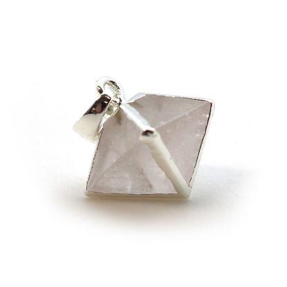 Silver Plated Crystal Octahedron Gemstone Pendant - 8 Sided Gemstone Pendant - 25mm