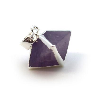 Silver Plated Amethyst Octahedron Gemstone Pendant - 8 Sided Gemstone Pendant - 25mm