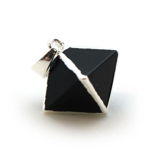 Silver Plated Black Agate Octahedron Gemstone Pendant - 8 Sided Gemstone Pendant - 25mm