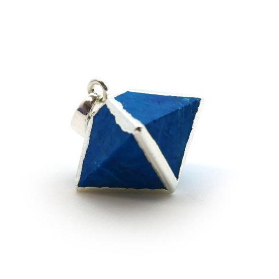 Silver Plated Turquoise Octahedron Gemstone Pendant - 8 Sided Gemstone Pendant - 25mm