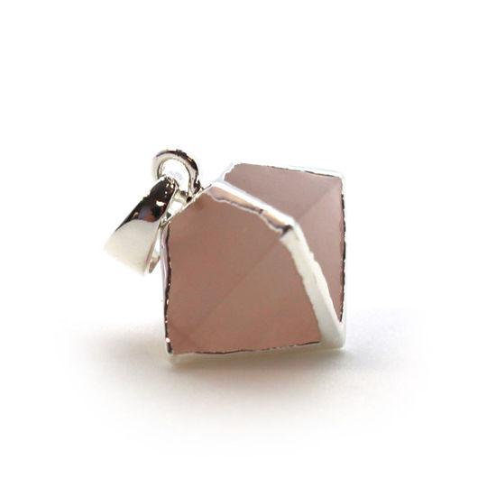 Silver Plated Rose Quartz Octahedron Gemstone Pendant - 8 Sided Gemstone Pendant - 25mm