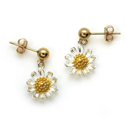 Gold Filled Ball Stud with Sterling Silver Two-Tone Sunflower Charm Drop Earrings (Sold Per Pair)