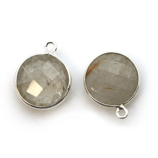 Wholesale Sterling Silver Round Bezel Gold Rutilated Quartz Gemstone Pendant, Wholesale Gemstone Pendants for Jewelry Making