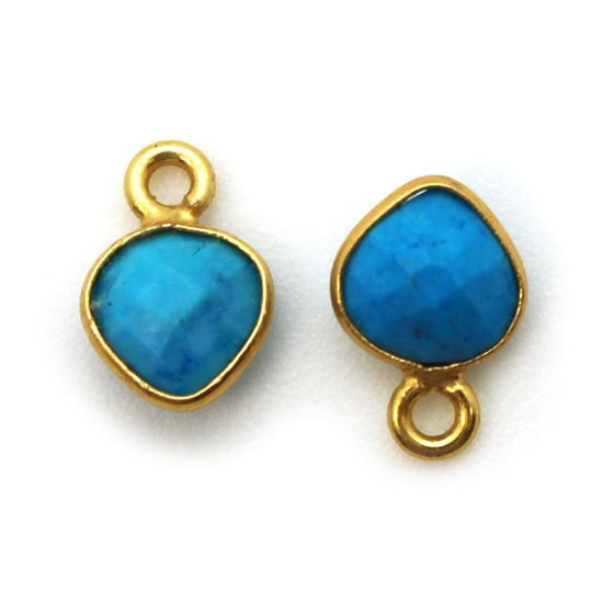 Wholesale Bezel Charm Pendant - Gold Plated Sterling Silver Charm - Turquoise -Tiny Heart Shape - 10 x 7mm
