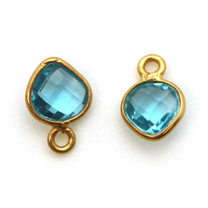 Wholesale Gold Over Sterling Silver Bezel Charm Pendant - 10 x 7mm Tiny Heart Shape - Blue Topaz - December Birthstone