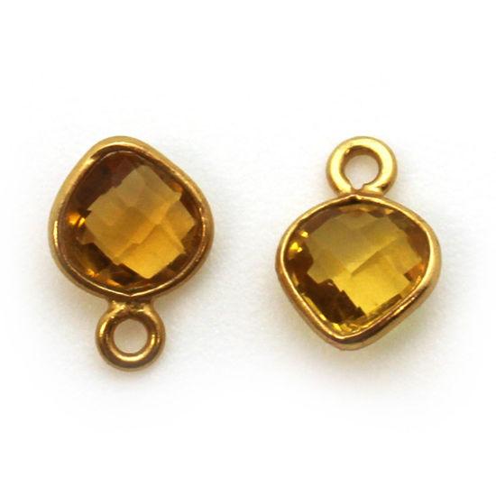 Wholesale Gold Over Sterling Silver Bezel Charm Pendant - 10 x 7mm Tiny Heart Shape - Citrine Quartz - November Birthstone