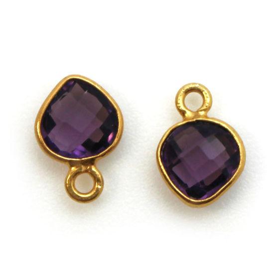 Wholesale Gold Over Sterling Silver Bezel Charm Pendant - 10 x 7mm Tiny Heart Shape - Amethyst Quartz - February Birthstone