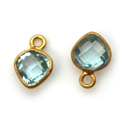 Wholesale Gold Over Sterling Silver Bezel Charm Pendant - 10 x 7mm Tiny Heart Shape - Aqua Quartz - March Birthstone