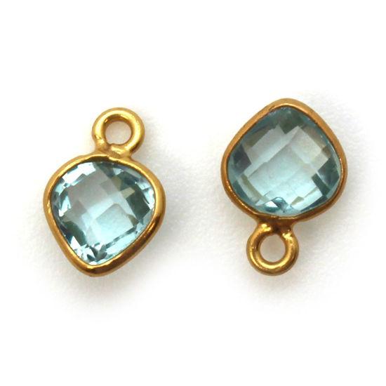 Wholesale Gold Over Sterling Silver Bezel Charm Pendant - 10 x 7mm Tiny Heart Shape - Aqua Quartz - March Birthstone