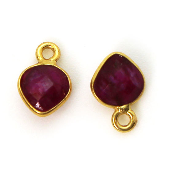 Wholesale Bezel Charm Pendant - Gold Plated Sterling Silver Charm - Ruby Dyed -Tiny Heart Shape - 10 x 7mm