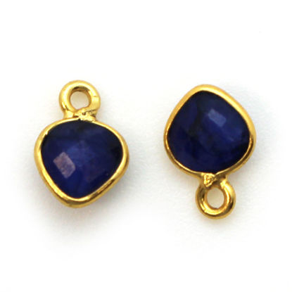 Wholesale Gold Over Sterling Silver Bezel Charm Pendant - 10 x 7mm Tiny Heart Shape - Blue Sapphire Dyed - September Birthstone
