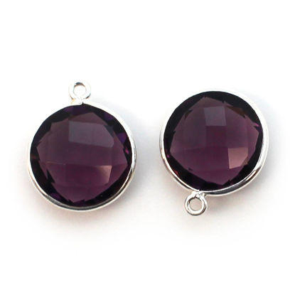 Wholesale Sterling Silver Round Bezel Amethyst Quartz Gemstone Pendant, Wholesale Gemstone Pendants for Jewelry Making