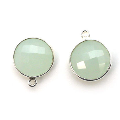 Wholesale Sterling Silver Round Bezel Aqua Chalcedony Gemstone Pendant, Wholesale Gemstone Pendants for Jewelry Making