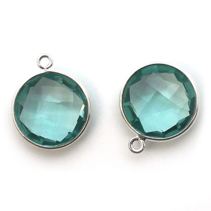 Wholesale Sterling Silver Round Bezel Aqua Quartz Gemstone Pendant, Wholesale Gemstone Pendants for Jewelry Making