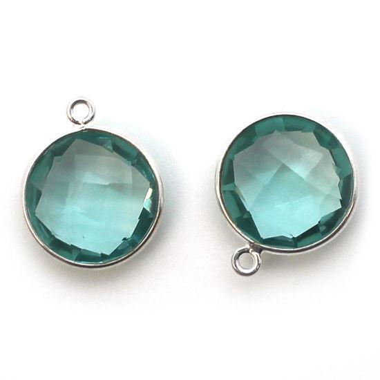 Wholesale Sterling Silver Round Bezel Aqua Quartz Gemstone Pendant, Wholesale Gemstone Pendants for Jewelry Making
