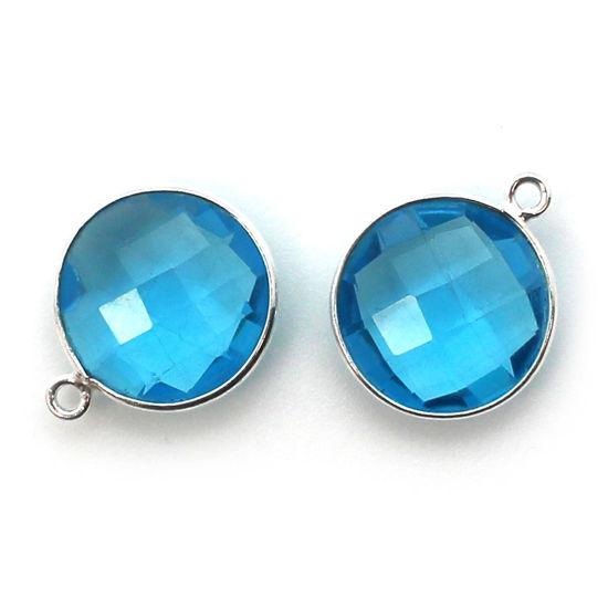 Wholesale Sterling Silver Round Bezel Blue Topaz Quartz Gemstone Pendant, Wholesale Gemstone Pendants for Jewelry Making