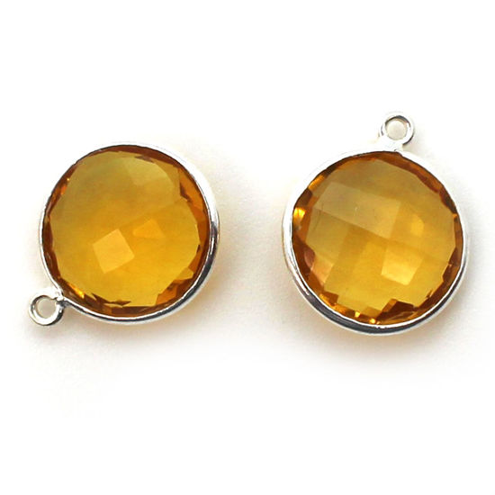 Wholesale Sterling Silver Round Bezel Citrine Quartz Gemstone Pendant, Wholesale Gemstone Pendants for Jewelry Making