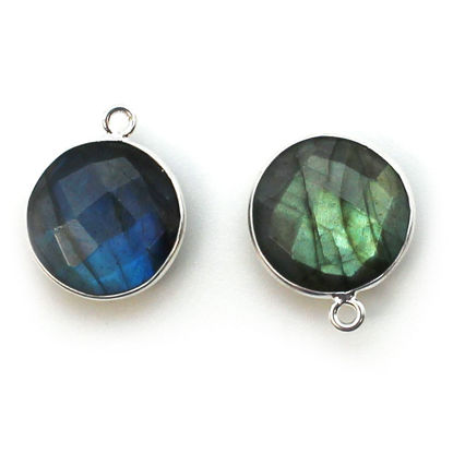 Wholesale Sterling Silver Round Bezel Labradorite Gemstone Pendant, Wholesale Gemstone Pendants for Jewelry Making