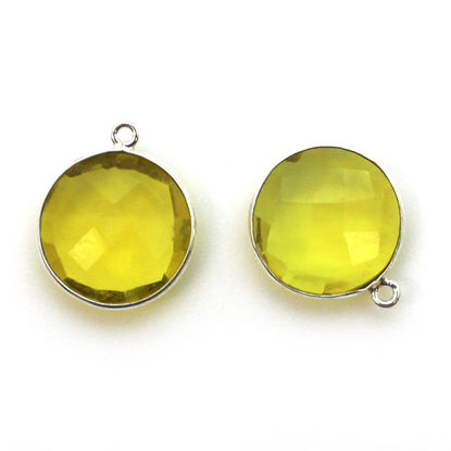 Wholesale Sterling Silver Round Bezel Lemon Quartz Gemstone Pendant, Wholesale Gemstone Pendants for Jewelry Making