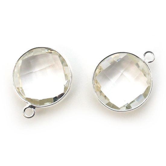 Wholesale Sterling Silver Round Bezel Crystal Quartz Gemstone Pendant, Wholesale Gemstone Pendants for Jewelry Making