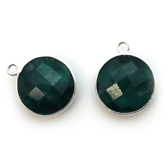Wholesale Sterling Silver Round Bezel Emerald Dyed Gemstone Pendant, Wholesale Gemstone Pendants for Jewelry Making