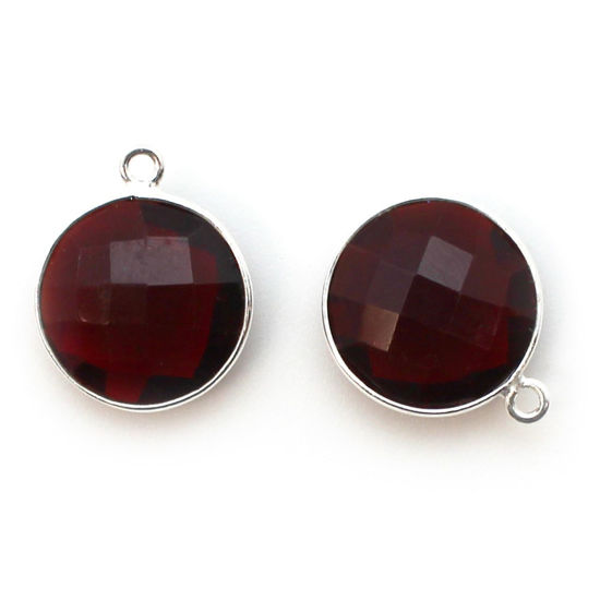 Wholesale Sterling Silver Round Bezel Garnet Quartz Gemstone Pendant, Wholesale Gemstone Pendants for Jewelry Making