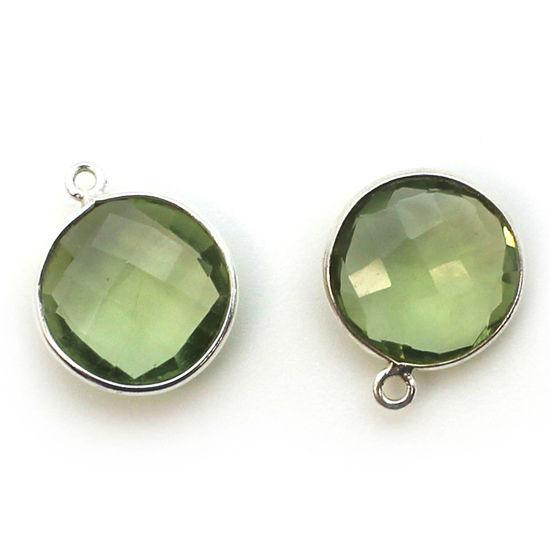Wholesale Sterling Silver Round Bezel Green Amethyst Quartz Gemstone Pendant, Wholesale Gemstone Pendants for Jewelry Making
