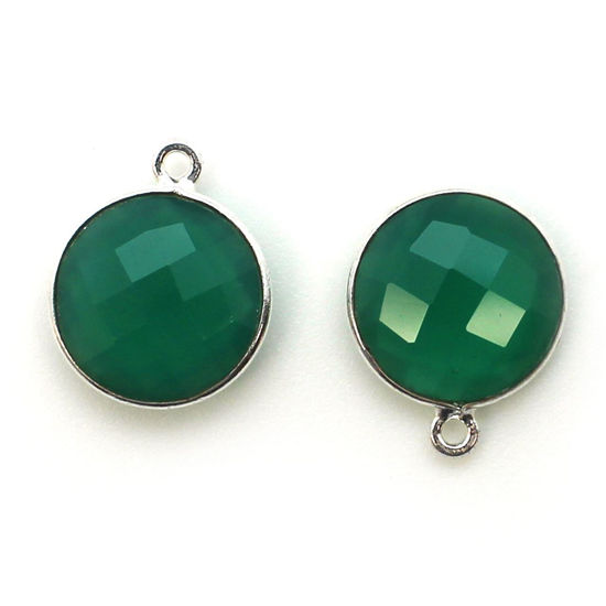 Wholesale Sterling Silver Round Bezel Green Onyx Gemstone Pendant, Wholesale Gemstone Pendants for Jewelry Making