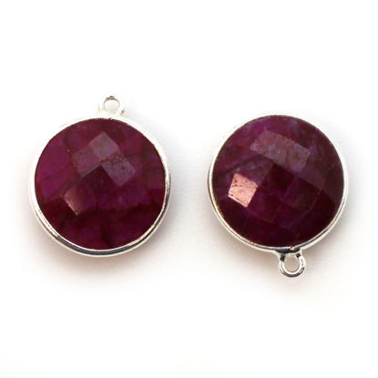 Wholesale Sterling Silver Round Bezel Dyed Ruby Gemstone Pendant, Wholesale Gemstone Pendants for Jewelry Making