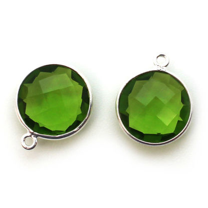 Wholesale Sterling Silver Round Bezel Peridot Quartz Gemstone Pendant, Wholesale Gemstone Pendants for Jewelry Making