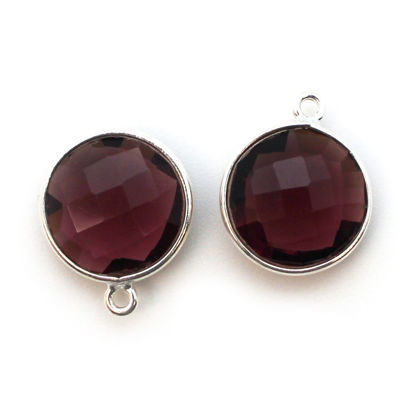 Wholesale Sterling Silver Round Bezel Pink Amethyst Quartz Gemstone Pendant, Wholesale Gemstone Pendants for Jewelry Making