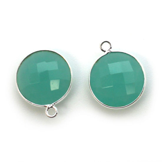 Wholesale Sterling Silver Round Bezel Peru Chalcedony Gemstone Pendant, Wholesale Gemstone Pendants for Jewelry Making