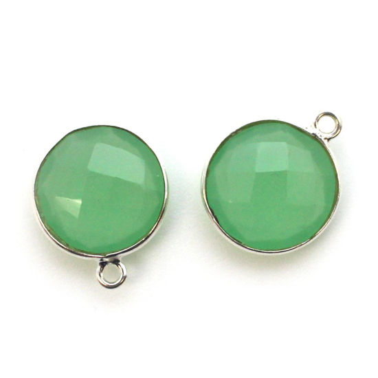 Wholesale Sterling Silver Round Bezel Prehnite Chalcedony Gemstone Pendant, Wholesale Gemstone Pendants for Jewelry Making