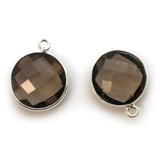 Wholesale Sterling Silver Round Bezel Smokey Quartz Gemstone Pendant, Wholesale Gemstone Pendants for Jewelry Making