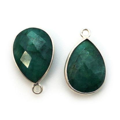 Wholesale Sterling Silver Teardrop Bezel Emerald Dyed Gemstone Pendant, Wholesale Gemstone Pendants for Jewelry Making