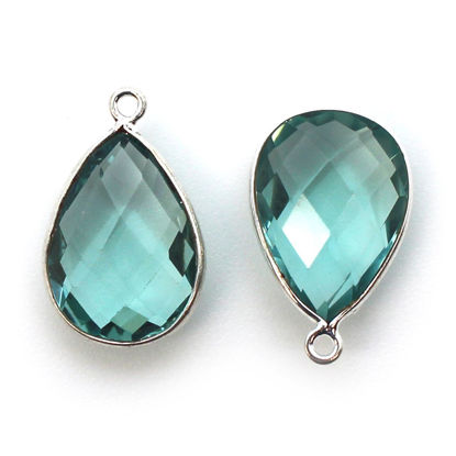 Wholesale Sterling Silver Teardrop Bezel Aqua Quartz Gemstone Pendant, Wholesale Gemstone Pendants for Jewelry Making