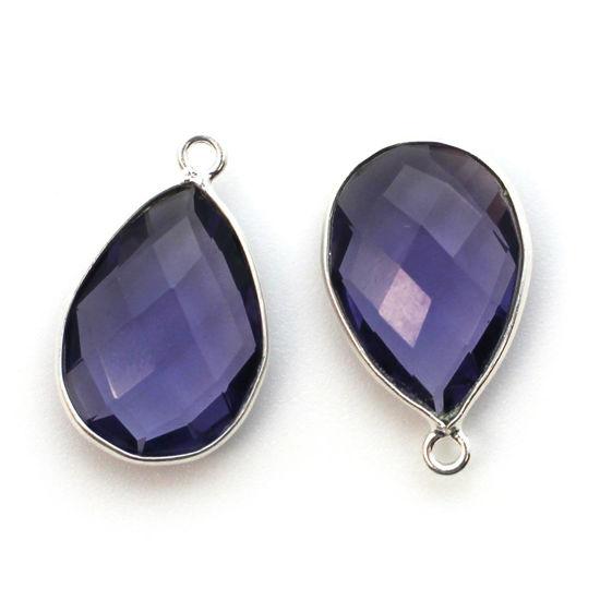 Wholesale Sterling Silver Teardrop Bezel Iolite Quartz Gemstone Pendant, Wholesale Gemstone Pendants for Jewelry Making