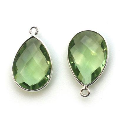 Wholesale Sterling Silver Teardrop Bezel Green Amethyst Quartz Gemstone Pendant, Wholesale Gemstone Pendants for Jewelry Making